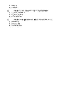 An American Revolution Questionnaire Pre Assessment