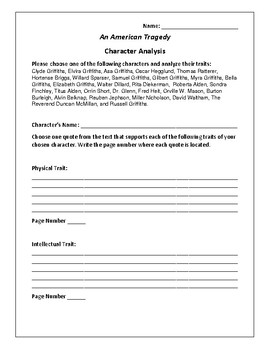 An American Tragedy Character Analysis Activity - Theodore Dreiser