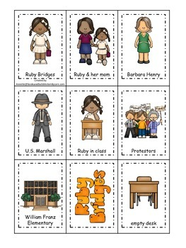 An American history educational curriculum game.  Ruby Bridges Memory Matching.