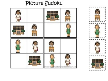 An American history educational curriculum game.  Ruby Bridges Picture Sudoku.