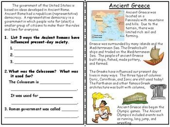 An Ancient Civilization Unit: Rome, Greece, Mali, Egypt, and Rome