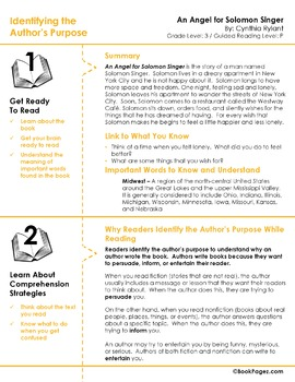 An Angel for Solomon Singer Lesson Plans & Activities Package,Third Grade (CCSS)