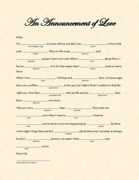 An Announcement of Love: A Valentine's Day Madlib