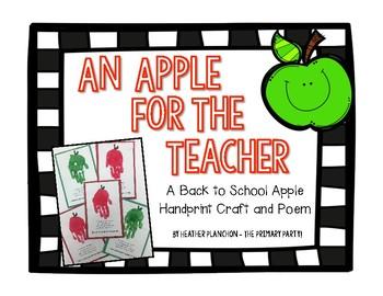 An Apple for the Teacher - Open House Craft