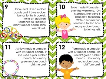 Addition and Subtraction to 20 Task Cards: An Arm Full of Math Loom Bracelets