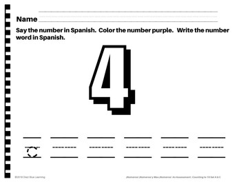 An Assessment: Counting to 10 in Spanish!
