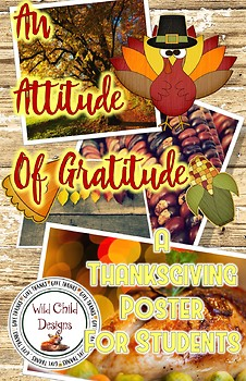An Attitude of Gratitude Thanksgiving Poster for Students