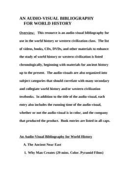 An Audio-Visual Bibliography for World History