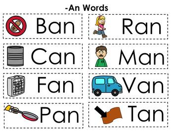CVC Word Family Punch Activity: An Words