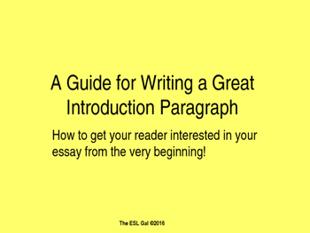 An ESL-Friendly Guide for Writing an Introduction Paragraph