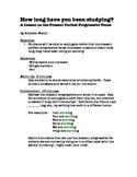 An ESL Lesson on the Present Perfect Progessive Tense