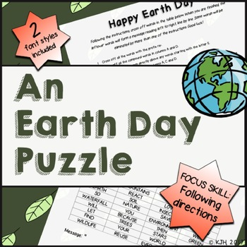 An Earth Day Puzzle (Following Directions)