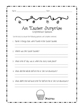 An Easter Surprise Fluency Passage & Comprehension Questions