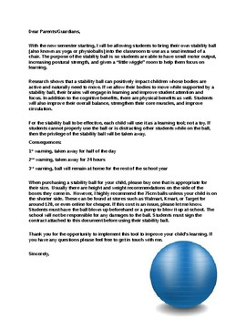 An Editable Letter for Yoga/Stability Ball Use in the Classroom