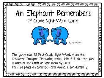 An Elephant Remembers a 1st Grade Sight Word Game
