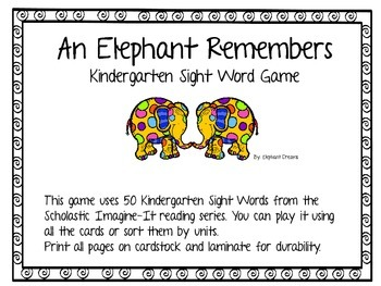 An Elephant Remembers a Kindergarten Sight Word Game