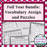 An Entire Year of Geometry Vocabulary Assignments and Puzzles BUNDLE!!!