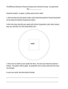 Homework Experiment:  Physical and Chemical Changes (Properties of Matter)