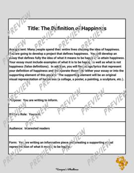 Extended Definition Writing Project. . .The Definition of Happiness