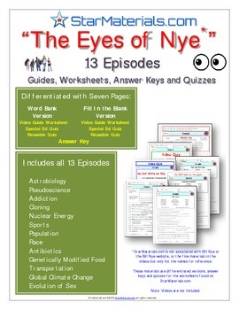 """Eyes of Nye"" - All 13 Episodes - EN_All - Worksheet, Answer Sheet, & Quizzes."