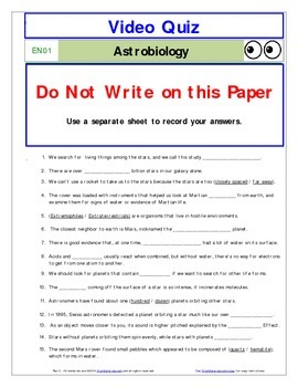 """An """"Eyes of Nye"""" - Astrobiology -EN01- Worksheet, Answer Sheet, and Two Quizzes."""