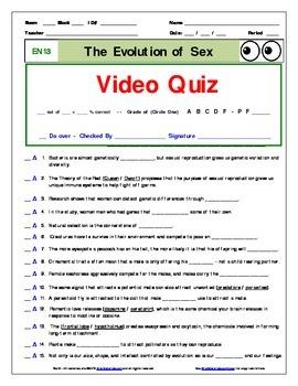 "An ""Eyes of Nye"" - Evolution of Sex – EN13 - Worksheet, Ans Sheet, Quizzes."