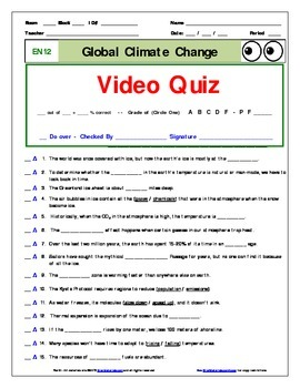 "An ""Eyes of Nye"" - Global Climate Change – EN12 - Worksheet, Ans Sheet, Quizzes."