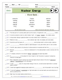 """An """"Eyes of Nye"""" - Nuclear Energy –EN05- Worksheet, Ans Sheet, and Two Quizzes."""