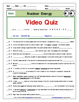 "An ""Eyes of Nye"" - Nuclear Energy –EN05- Worksheet, Ans Sheet, and Two Quizzes."
