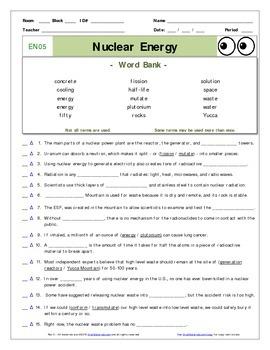 "An ""Eyes of Nye"" - Nuclear Energy –EN05- Worksheet, Ans Sh"