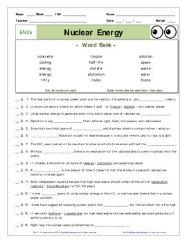 INTRODUCTION TO ENERGY* WORKSHEET