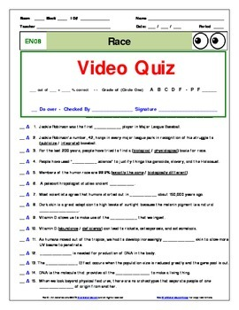 "An ""Eyes of Nye"" Race –EN08- Worksheet, Answer Sheet, and Two Quizzes."