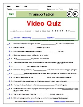 "An ""Eyes of Nye"" - Transportation – EN11 - Worksheet, Ans Sheet, &Two Quizzes."