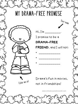 An INTERACTIVE Guidance Lesson on Being a Drama-Free Friend, Grades 2-3