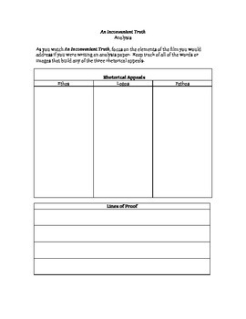 An Inconvenient Truth Rhetorical Analysis Organizer
