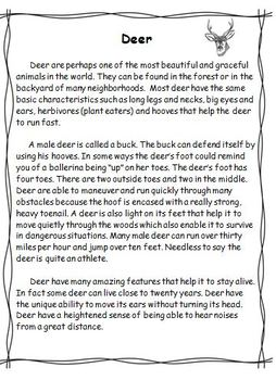 An Informational Text Passage About Deer