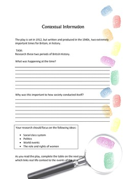 An Inspector Calls Activity Pack