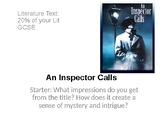 An Inspector Calls Full Scheme of Work GCSE ENGLISH LITERATURE