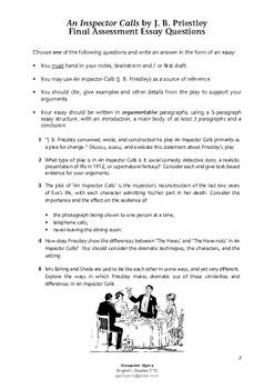An Inspector Calls (J. B. Priestley) - Essay Questions ASSESSMENT & CRITERIA