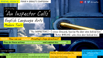 An Inspector Calls, Phase 4: Gerald's Confession. Reading Unit.