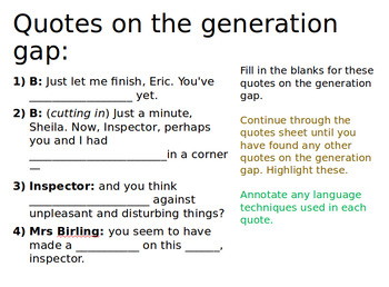 An Inspector Calls Revision: Learning Quotes