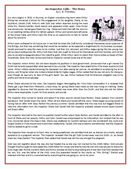 An Inspector Calls – The Story by J. B. Priestley - Reading Comprehension Text