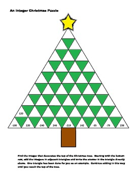 An Adding Integers Christmas Worksheet/Puzzle