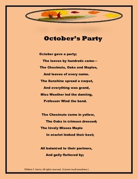 "An Interactive Poetry Worksheet Packet for ""October's Party"" by George Cooper."