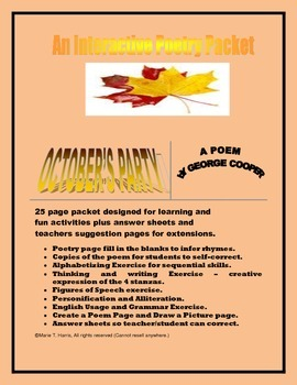 """An Interactive Poetry Worksheet Packet for """"October's Part"""