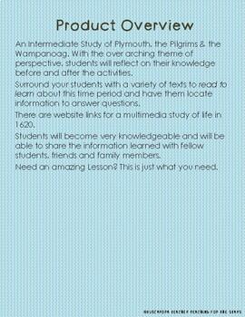 An Intermediate Study of Plymouth, the Pilgrims & the Wampanoag