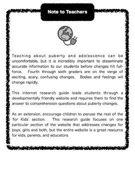 An Internet Research Guide to Puberty and Adolescence for Grades 4-6