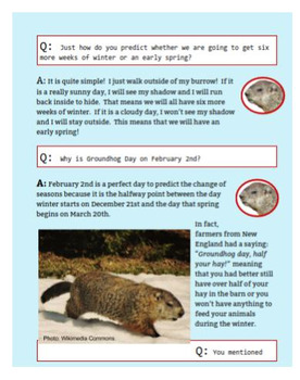 An Interview with a Groundhog - Informational Text for Groundhog Day