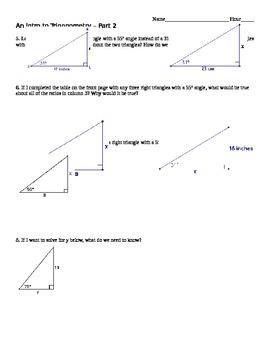 Student Exploration: An Intro to Trigonometry