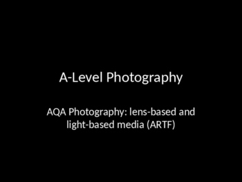 An Introduction to A-Level Photograohy